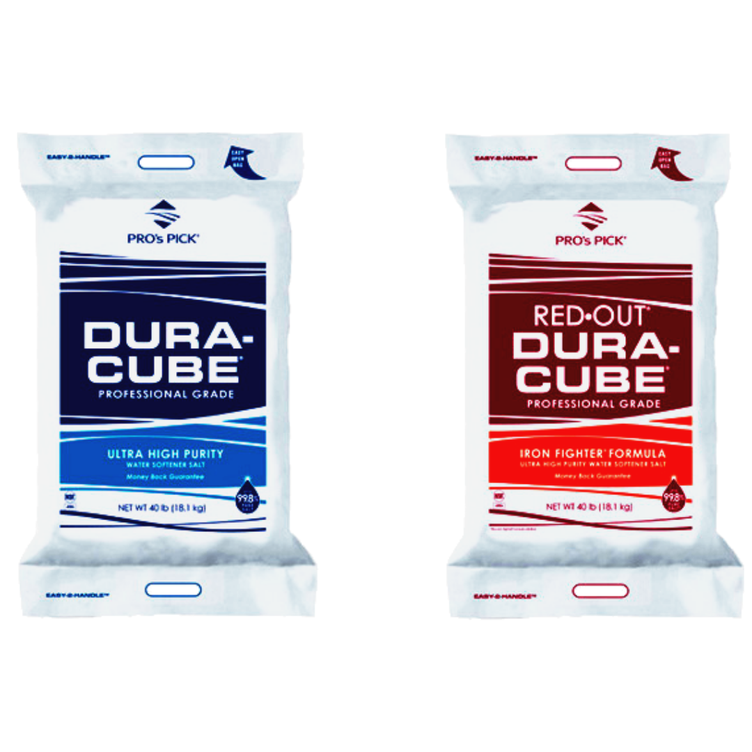 Aquatek Water Conditioning sells Dura-Cube Regular and Red Out Salt
